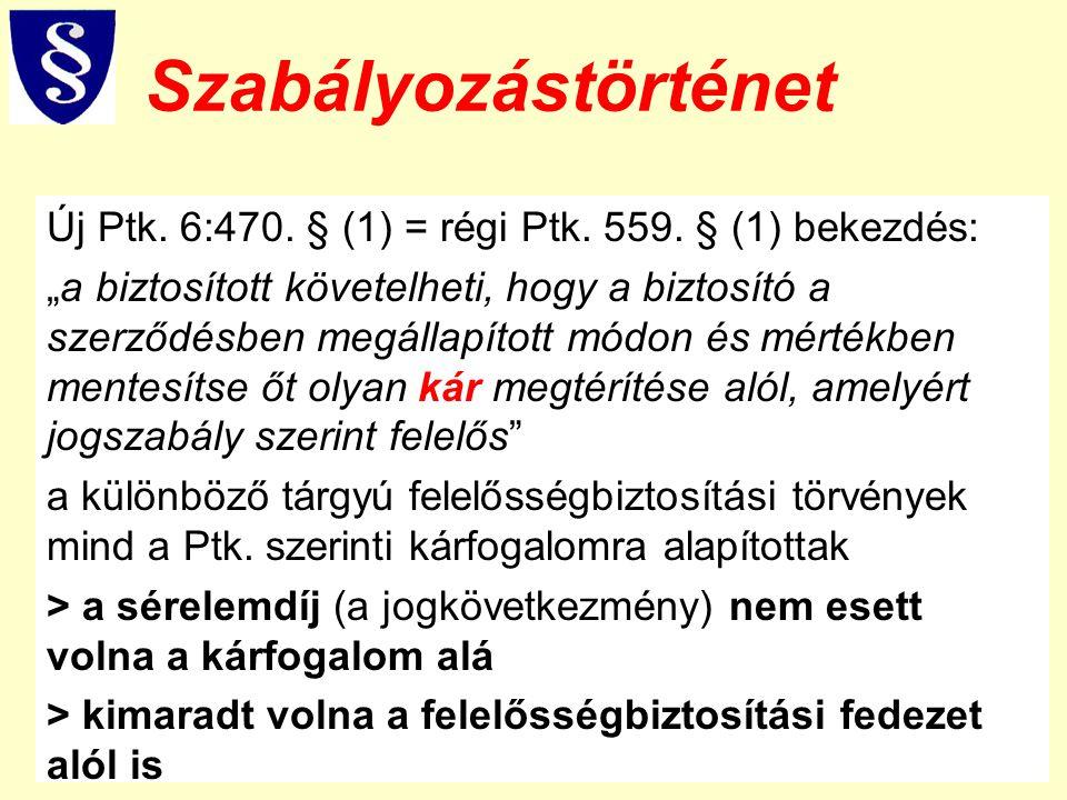 """Szabályozástörténet Új Ptk. 6:470. § (1) = régi Ptk. 559. § (1) bekezdés: """"a biztosított követelheti, hogy a biztosító a szerződésben megállapított mó"""
