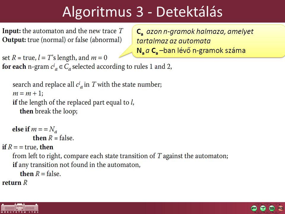 Algoritmus 3 - Detektálás C a azon n-gramok halmaza, amelyet tartalmaz az automata N a a C a –ban lévő n-gramok száma C a azon n-gramok halmaza, amelyet tartalmaz az automata N a a C a –ban lévő n-gramok száma