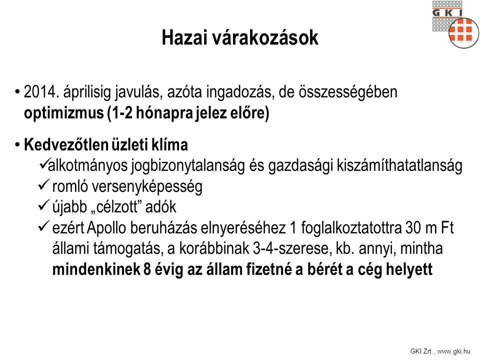 GKI Zrt., www.gki.hu GKI-Erste konjunktúra index, 2008-2014 Forrás: GKI