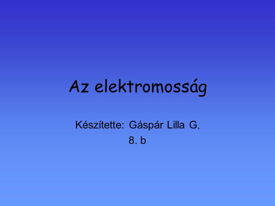 Az elektromosság Készítette: Gáspár Lilla G. 8. b
