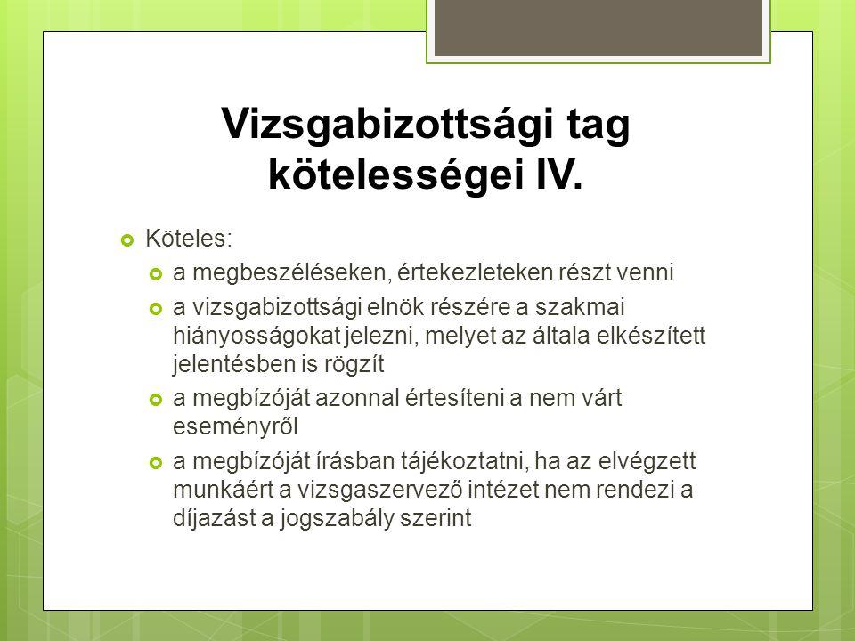 Vizsgabizottsági tag kötelességei IV.
