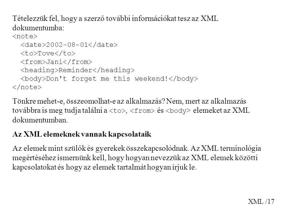 XML /17 Tételezzük fel, hogy a szerző további információkat tesz az XML dokumentumba: 2002-08-01 Tove Jani Reminder Don't forget me this weekend! Tönk