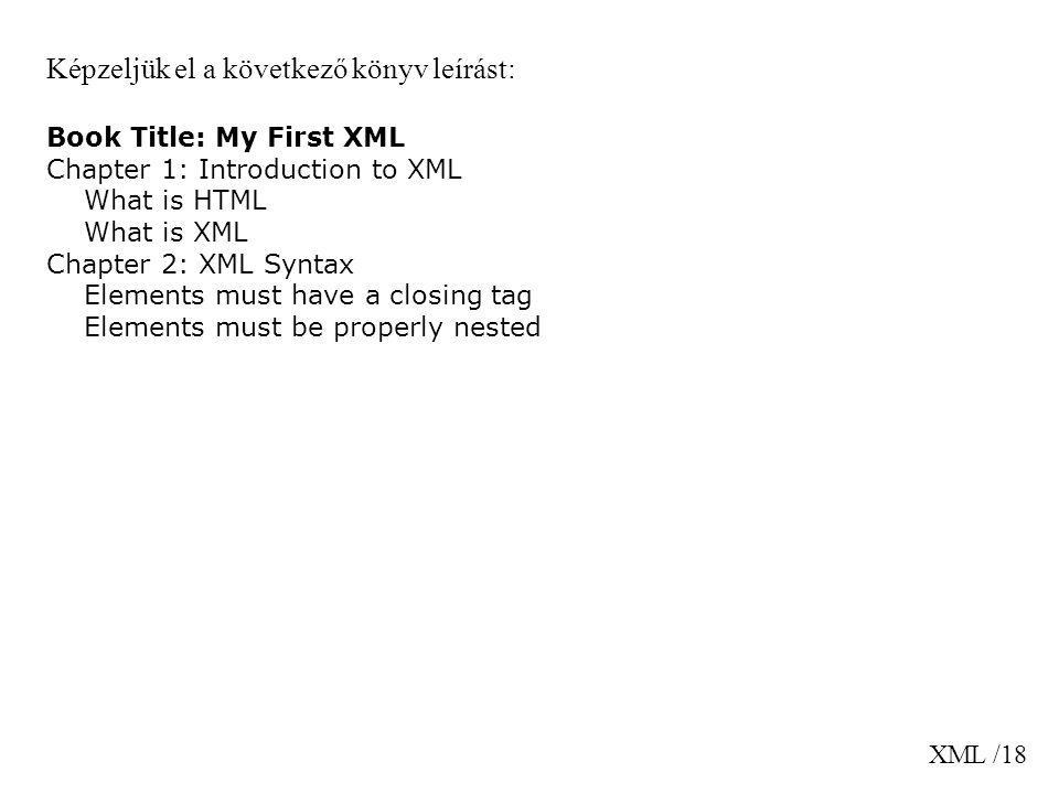 XML /18 Képzeljük el a következő könyv leírást: Book Title: My First XML Chapter 1: Introduction to XML What is HTML What is XML Chapter 2: XML Syntax Elements must have a closing tag Elements must be properly nested