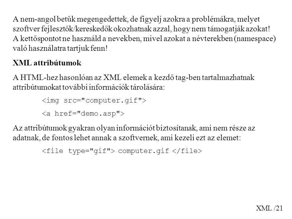 XML /21 A nem-angol betűk megengedettek, de figyelj azokra a problémákra, melyet szoftver fejlesztők/kereskedők okozhatnak azzal, hogy nem támogatják