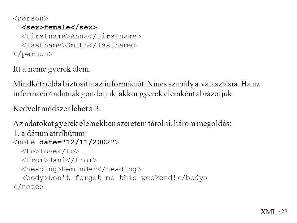 XML /23 female Anna Smith Itt a neme gyerek elem. Mindkét példa biztosítja az információt. Nincs szabály a választásra. Ha az információt adatnak gond
