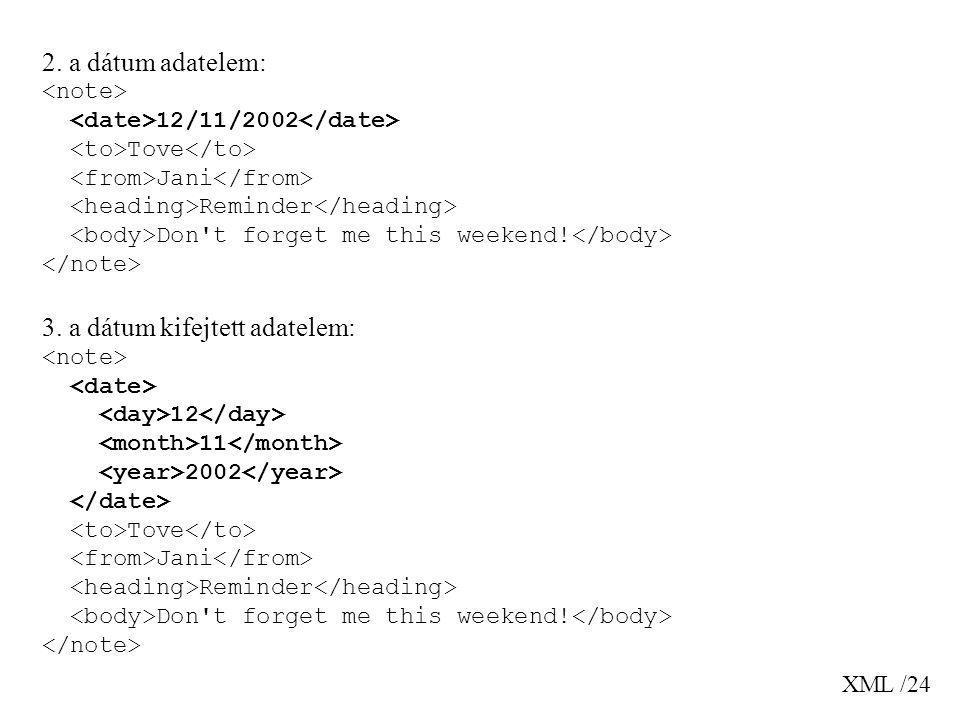 XML /24 2. a dátum adatelem: 12/11/2002 Tove Jani Reminder Don't forget me this weekend! 3. a dátum kifejtett adatelem: 12 11 2002 Tove Jani Reminder