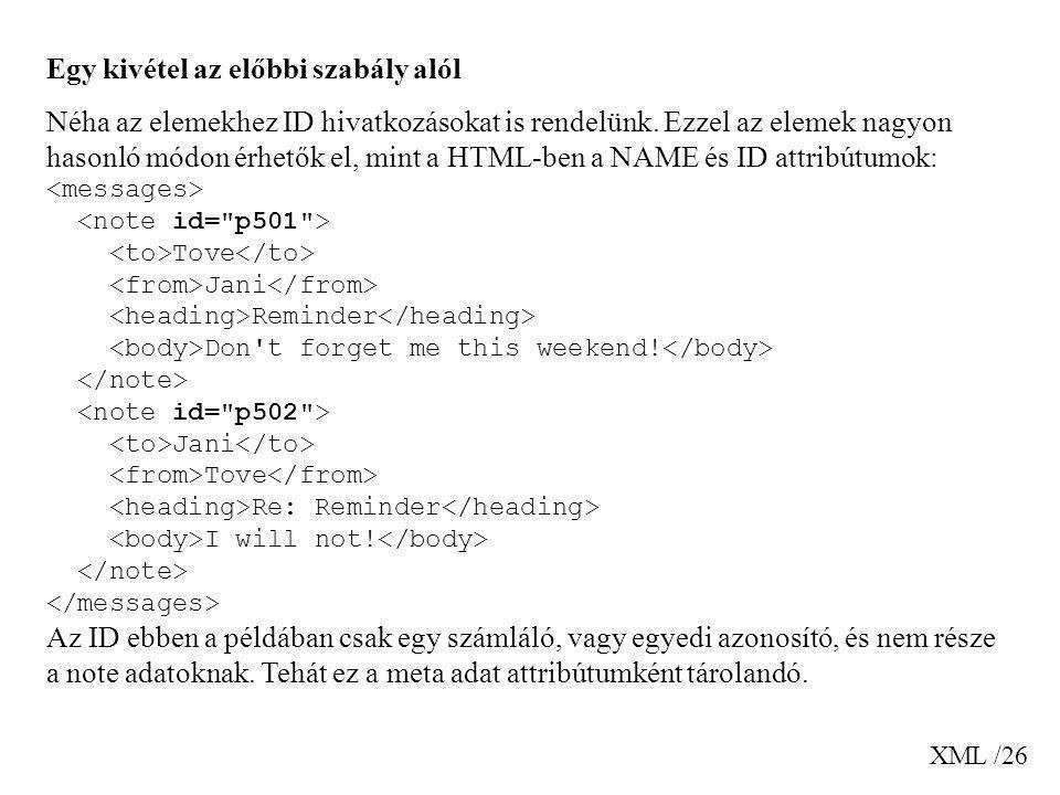 XML /26 Egy kivétel az előbbi szabály alól Néha az elemekhez ID hivatkozásokat is rendelünk. Ezzel az elemek nagyon hasonló módon érhetők el, mint a H