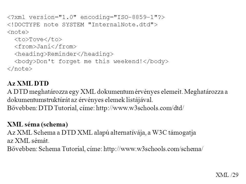 XML /29 Tove Jani Reminder Don't forget me this weekend! Az XML DTD A DTD meghatározza egy XML dokumentum érvényes elemeit. Meghatározza a dokumentums