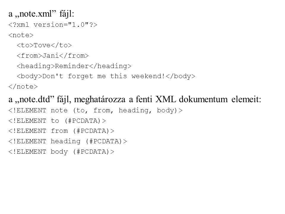 """a """"note.xml"""" fájl: Tove Jani Reminder Don't forget me this weekend! a """"note.dtd"""" fájl, meghatározza a fenti XML dokumentum elemeit:"""