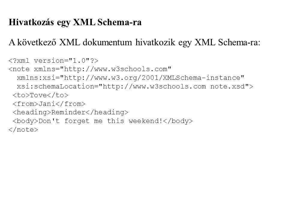 Hivatkozás egy XML Schema-ra A következő XML dokumentum hivatkozik egy XML Schema-ra: Tove Jani Reminder Don't forget me this weekend!