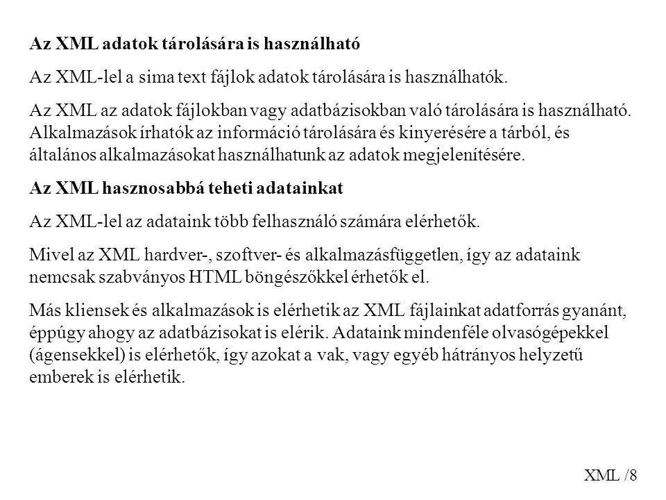 XML /19 és az ezt leíró XML dokumetumot: My First XML Introduction to XML What is HTML What is XML XML Syntax Elements must have a closing tag Elements must be properly nested Gyökér (root), gyerek (child), szülő (parent), testvér (sibling, sister) elemek.
