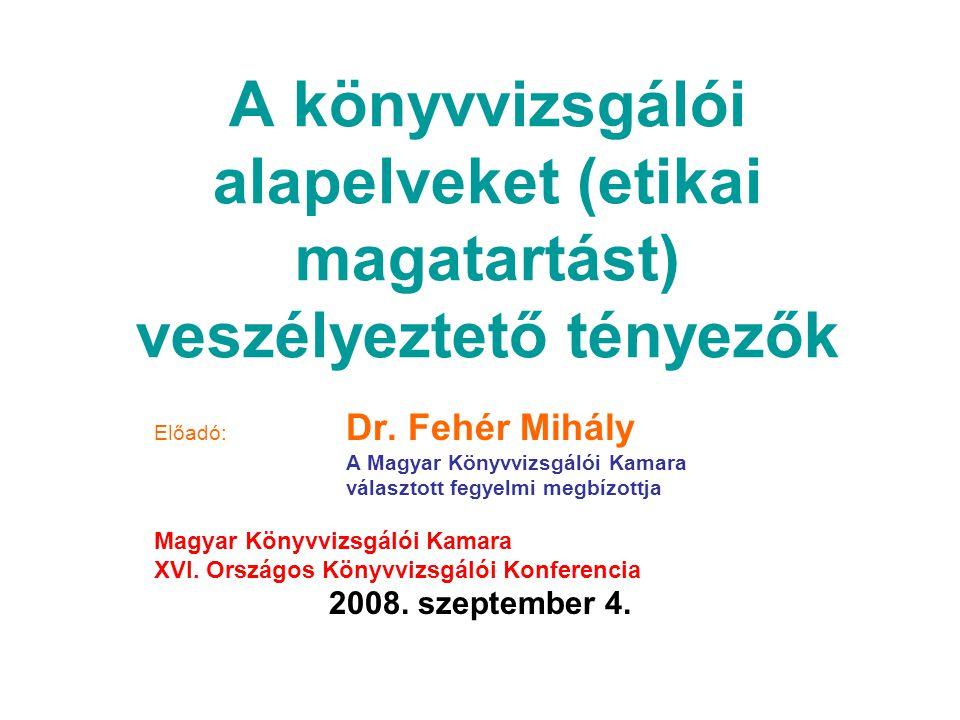 A könyvvizsgálói alapelveket (etikai magatartást) veszélyeztető tényezők Előadó: Dr.