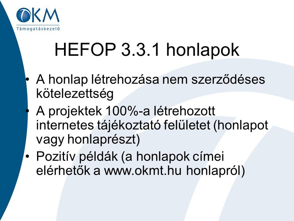 HEFOP 3.3.1 honlapok A honlap létrehozása nem szerződéses kötelezettség A projektek 100%-a létrehozott internetes tájékoztató felületet (honlapot vagy