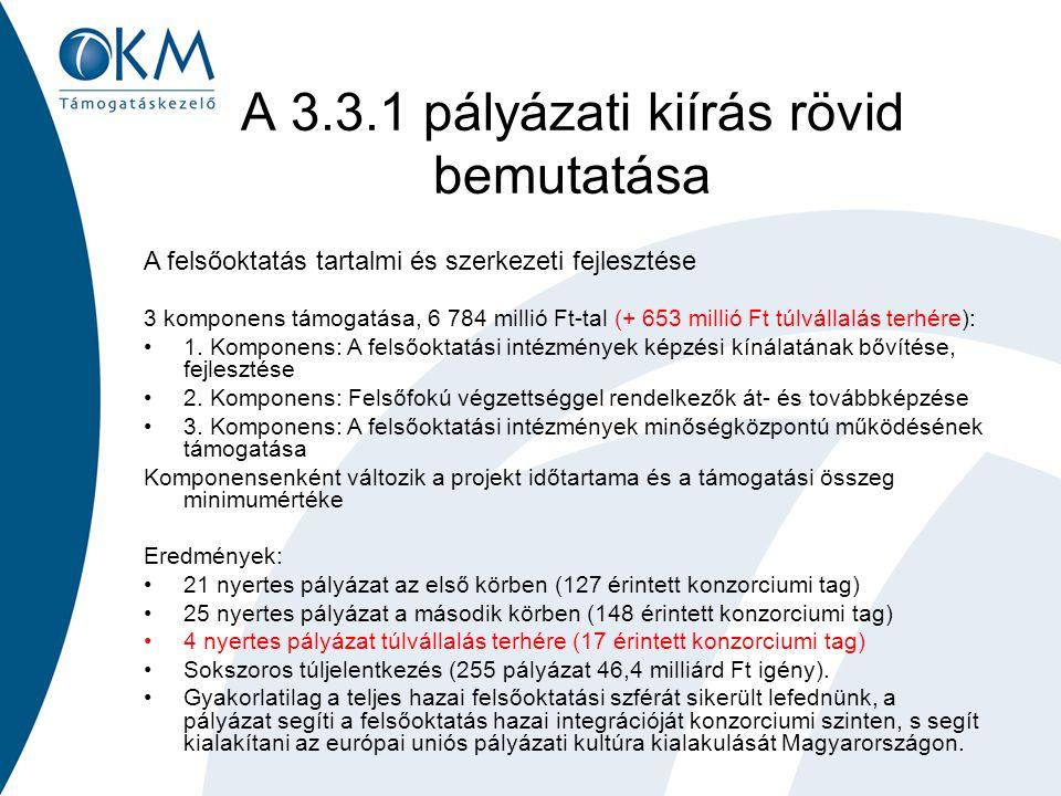 A 3.3.1 pályázati kiírás rövid bemutatása A felsőoktatás tartalmi és szerkezeti fejlesztése 3 komponens támogatása, 6 784 millió Ft-tal (+ 653 millió