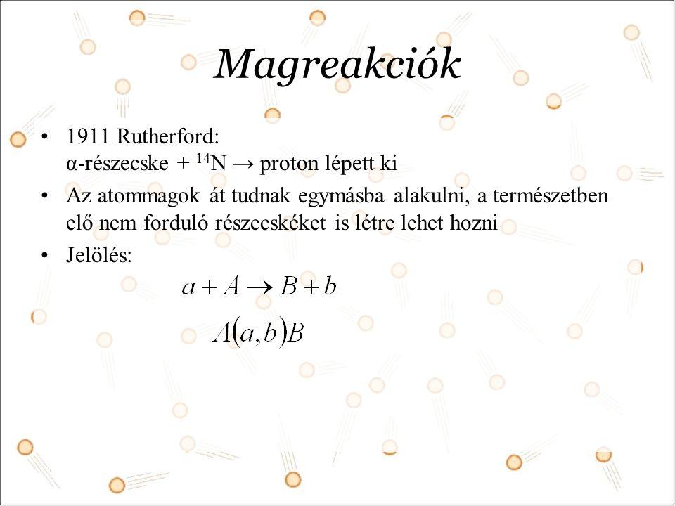 Magreakciók 1911 Rutherford: α-részecske + 14 N → proton lépett ki Az atommagok át tudnak egymásba alakulni, a természetben elő nem forduló részecskéket is létre lehet hozni Jelölés:
