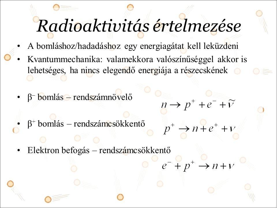 Radioaktivitás értelmezése A bomláshoz/hadadáshoz egy energiagátat kell leküzdeni Kvantummechanika: valamekkora valószínűséggel akkor is lehetséges, ha nincs elegendő energiája a részecskének β – bomlás – rendszámnövelő β + bomlás – rendszámcsökkentő Elektron befogás – rendszámcsökkentő