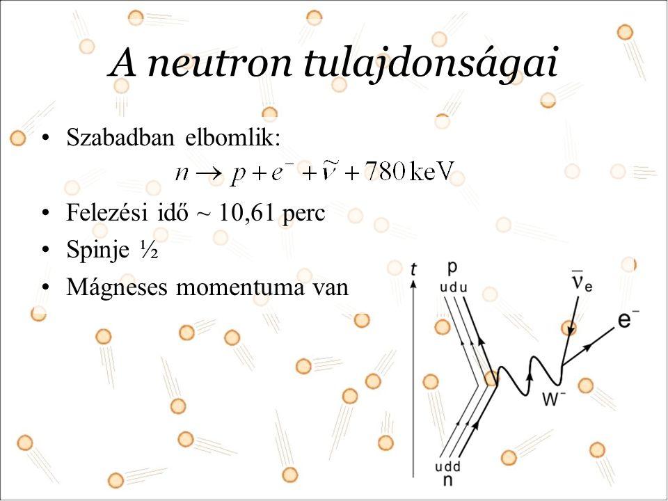 A neutron tulajdonságai Szabadban elbomlik: Felezési idő ~ 10,61 perc Spinje ½ Mágneses momentuma van