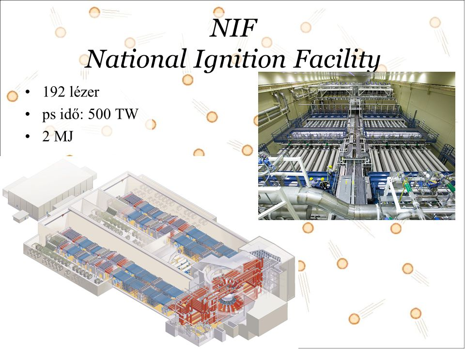 NIF National Ignition Facility 192 lézer ps idő: 500 TW 2 MJ
