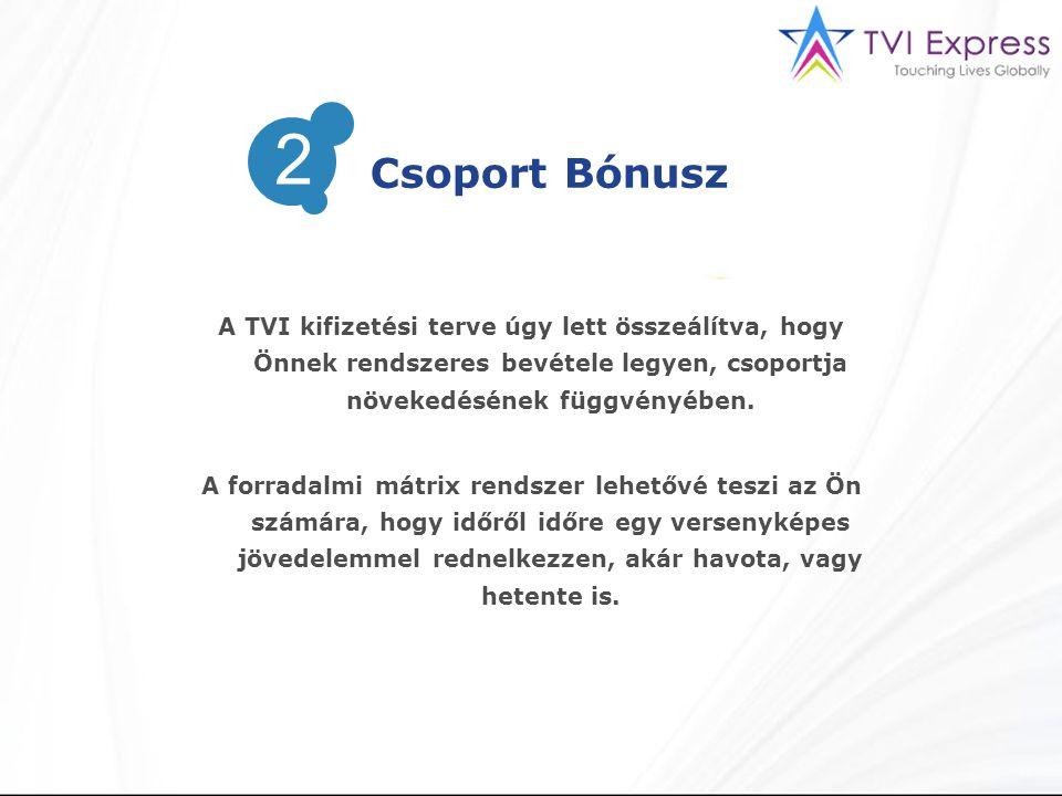 A TVI kifizetési terve úgy lett összeálítva, hogy Önnek rendszeres bevétele legyen, csoportja növekedésének függvényében.