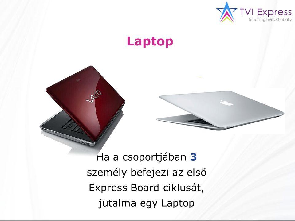 Laptop Ha a csoportjában 3 személy befejezi az első Express Board ciklusát, jutalma egy Laptop