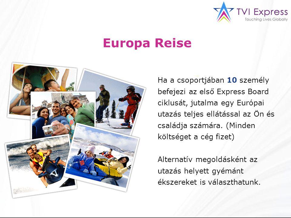 Europa Reise Ha a csoportjában 10 személy befejezi az első Express Board ciklusát, jutalma egy Európai utazás teljes ellátással az Ön és családja számára.