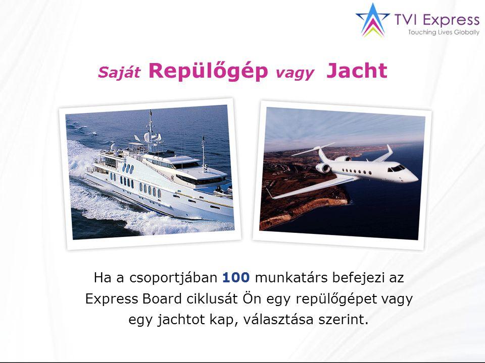 Saját Repülőgép vagy Jacht Ha a csoportjában 100 munkatárs befejezi az Express Board ciklusát Ön egy repülőgépet vagy egy jachtot kap, választása szerint.