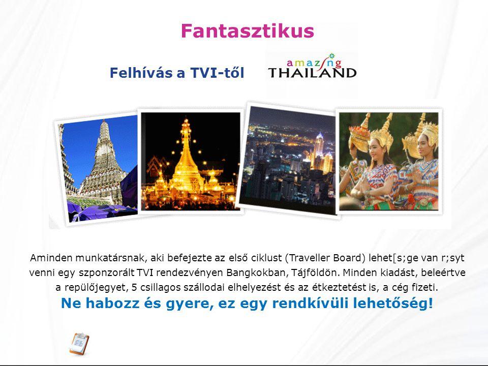 Fantasztikus Aminden munkatársnak, aki befejezte az első ciklust (Traveller Board) lehet[s;ge van r;syt venni egy szponzorált TVI rendezvényen Bangkokban, Tájföldön.