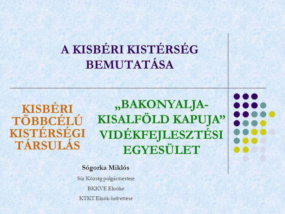 """A KISBÉRI KISTÉRSÉG BEMUTATÁSA KISBÉRI TÖBBCÉLÚ KISTÉRSÉGI TÁRSULÁS """"BAKONYALJA- KISALFÖLD KAPUJA VIDÉKFEJLESZTÉSI EGYESÜLET Sógorka Miklós Súr Község polgármestere BKKVE Elnöke KTKT Elnök-helyettese"""