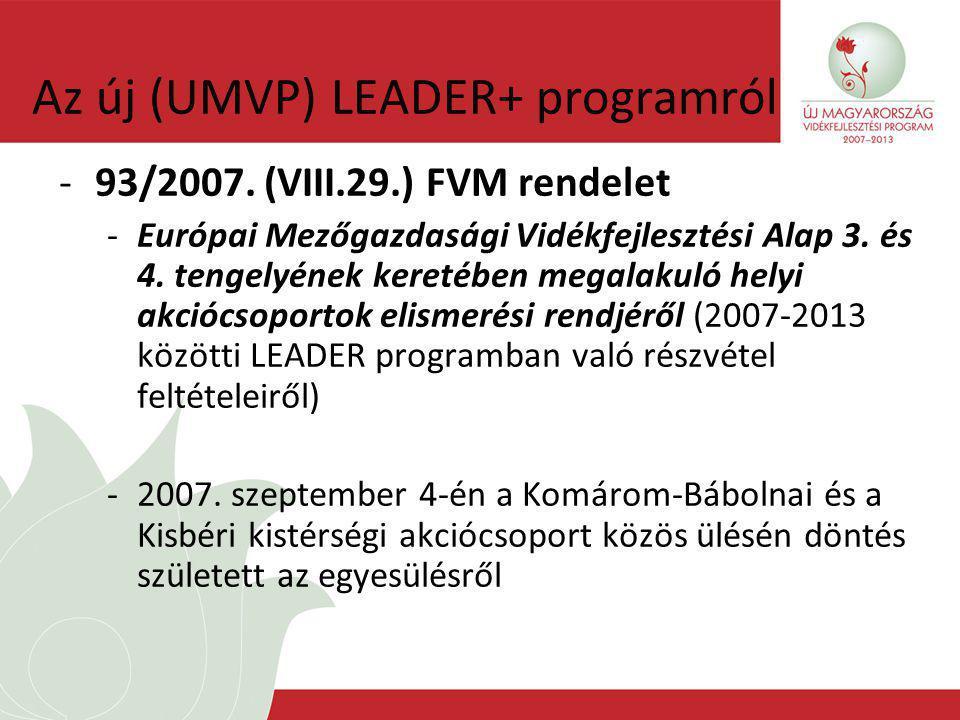 Az új (UMVP) LEADER+ programról -93/2007.