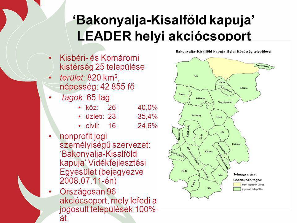 'Bakonyalja-Kisalföld kapuja' LEADER helyi akciócsoport Kisbéri- és Komáromi kistérség 25 települése terület: 820 km 2, népesség: 42 855 fő tagok: 65 tag köz:2640,0% üzleti: 2335,4% civil:1624,6% nonprofit jogi személyiségű szervezet: 'Bakonyalja-Kisalföld kapuja' Vidékfejlesztési Egyesület (bejegyezve 2008.07.11-én) Országosan 96 akciócsoport, mely lefedi a jogosult települések 100%- át.