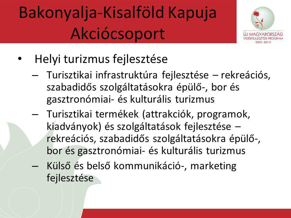 Bakonyalja-Kisalföld Kapuja Akciócsoport Helyi turizmus fejlesztése – Turisztikai infrastruktúra fejlesztése – rekreációs, szabadidős szolgáltatásokra épülő-, bor és gasztronómiai- és kulturális turizmus – Turisztikai termékek (attrakciók, programok, kiadványok) és szolgáltatások fejlesztése – rekreációs, szabadidős szolgáltatásokra épülő-, bor és gasztronómiai- és kulturális turizmus – Külső és belső kommunikáció-, marketing fejlesztése