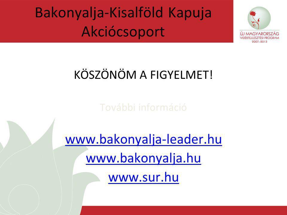 Bakonyalja-Kisalföld Kapuja Akciócsoport KÖSZÖNÖM A FIGYELMET.