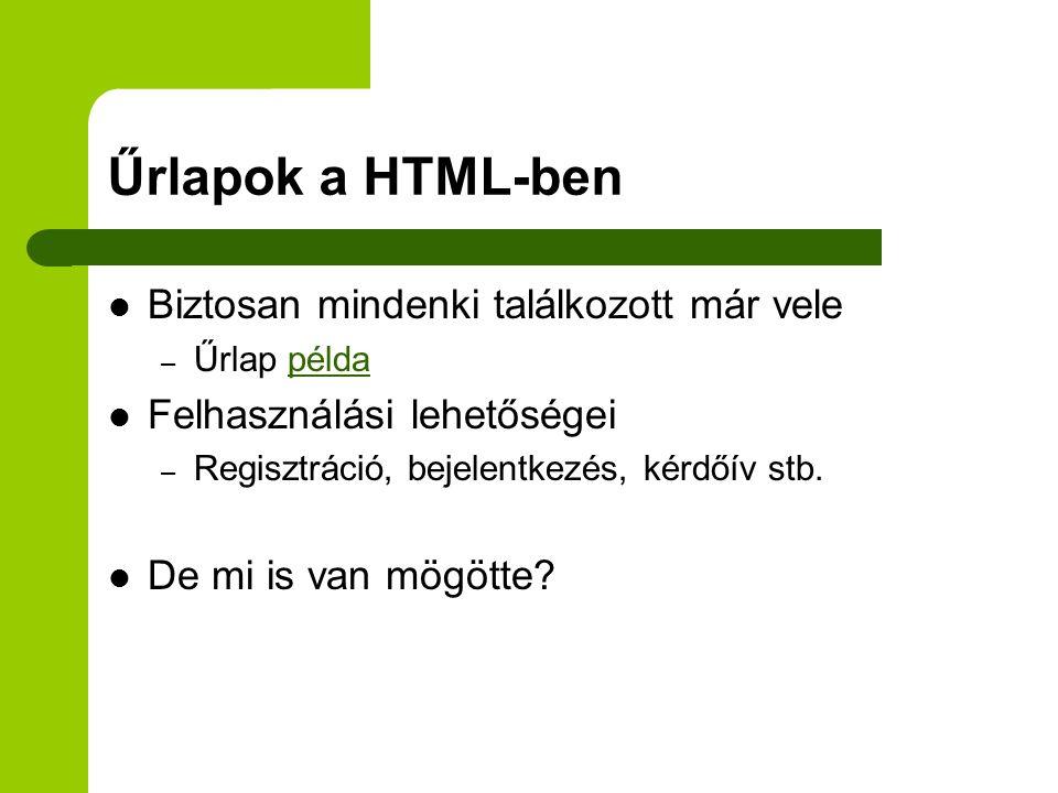Űrlapok a HTML-ben Biztosan mindenki találkozott már vele – Űrlap példapélda Felhasználási lehetőségei – Regisztráció, bejelentkezés, kérdőív stb.
