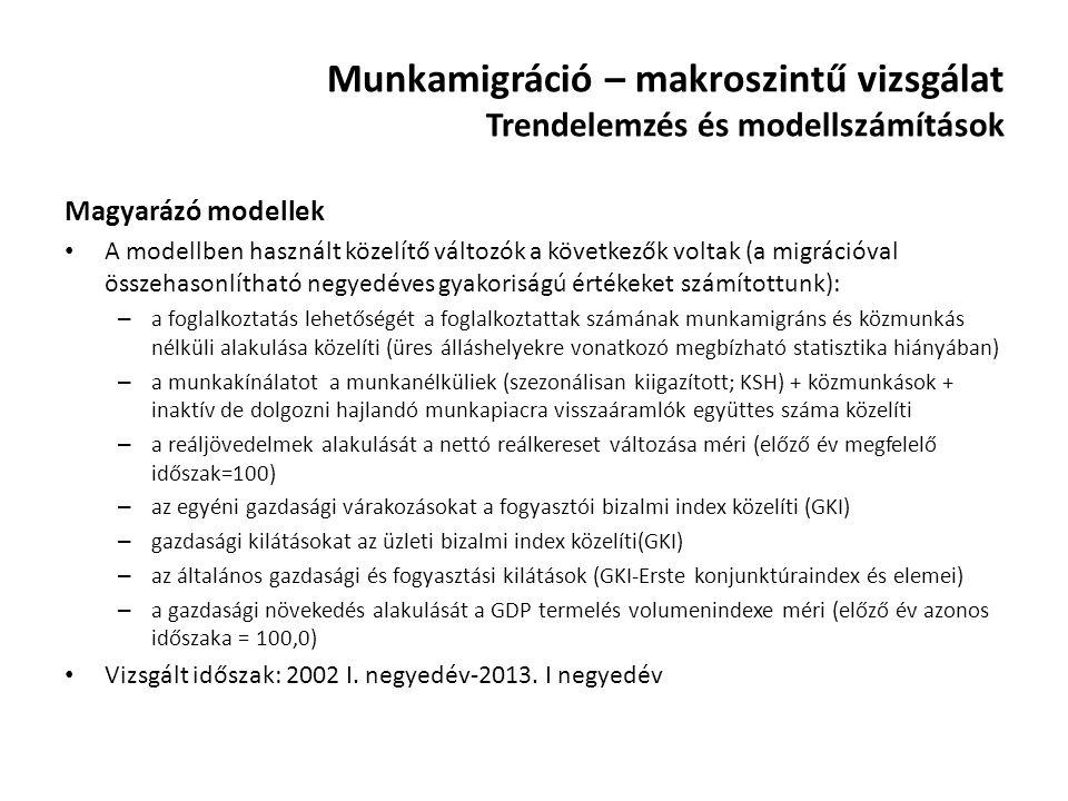 Munkamigráció – makroszintű vizsgálat Trendelemzés és modellszámítások Magyarázó modellek A modellben használt közelítő változók a következők voltak (
