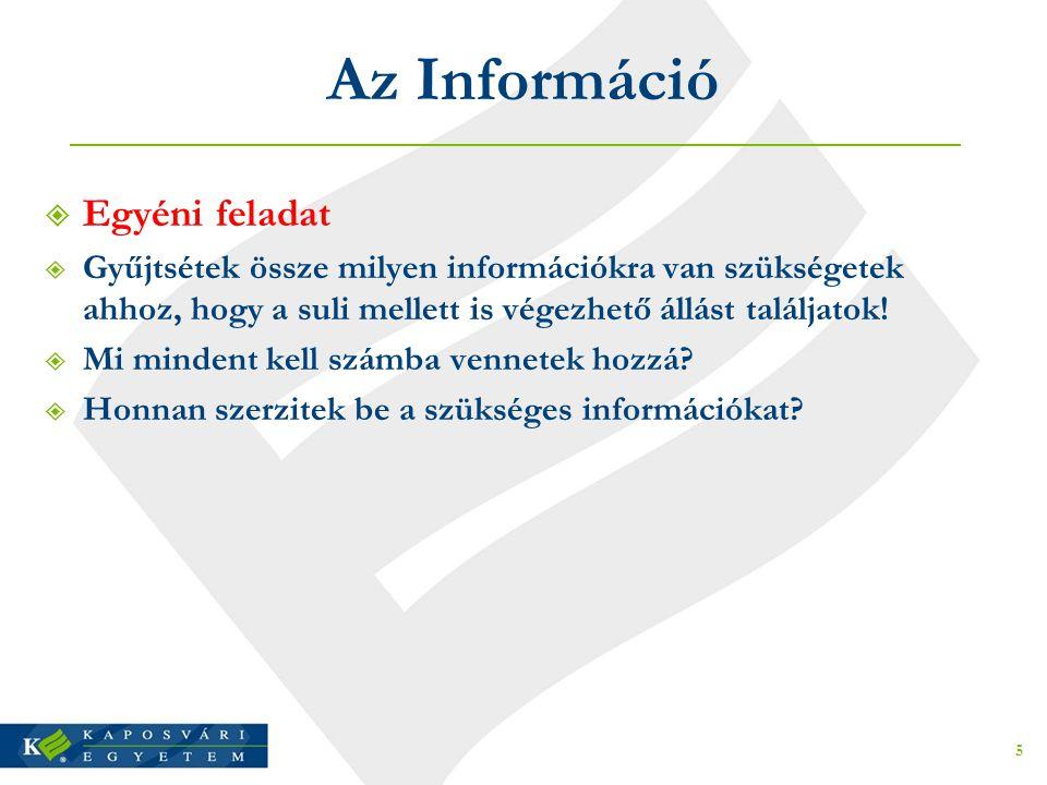Az Információ  Egyéni feladat  Gyűjtsétek össze milyen információkra van szükségetek ahhoz, hogy a suli mellett is végezhető állást találjatok!  Mi