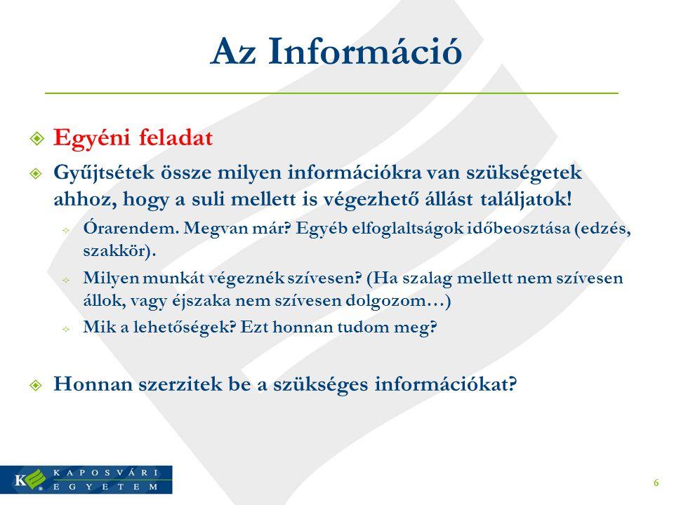 Az Információ  Egyéni feladat  Gyűjtsétek össze milyen információkra van szükségetek ahhoz, hogy a suli mellett is végezhető állást találjatok!  Ór