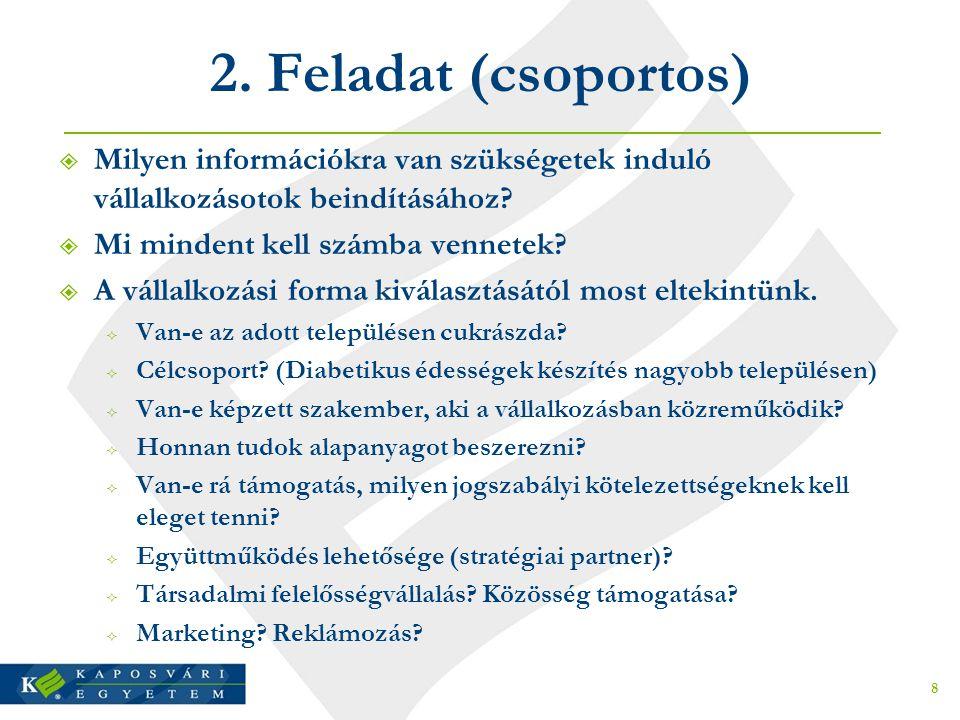 2. Feladat (csoportos)  Milyen információkra van szükségetek induló vállalkozásotok beindításához?  Mi mindent kell számba vennetek?  A vállalkozás