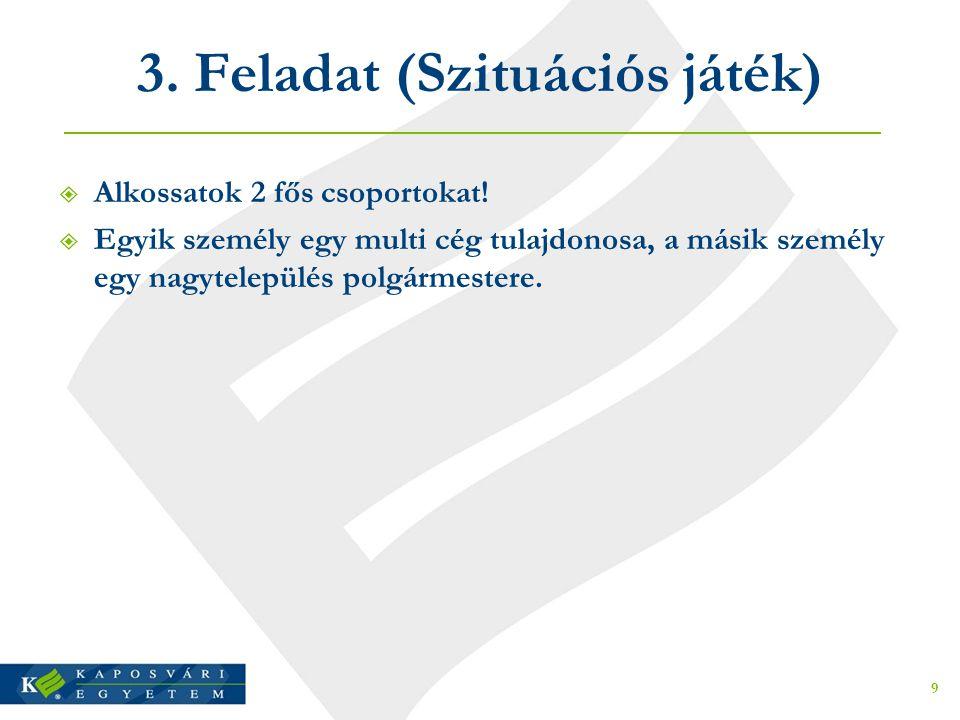 3. Feladat (Szituációs játék)  Alkossatok 2 fős csoportokat!  Egyik személy egy multi cég tulajdonosa, a másik személy egy nagytelepülés polgármeste