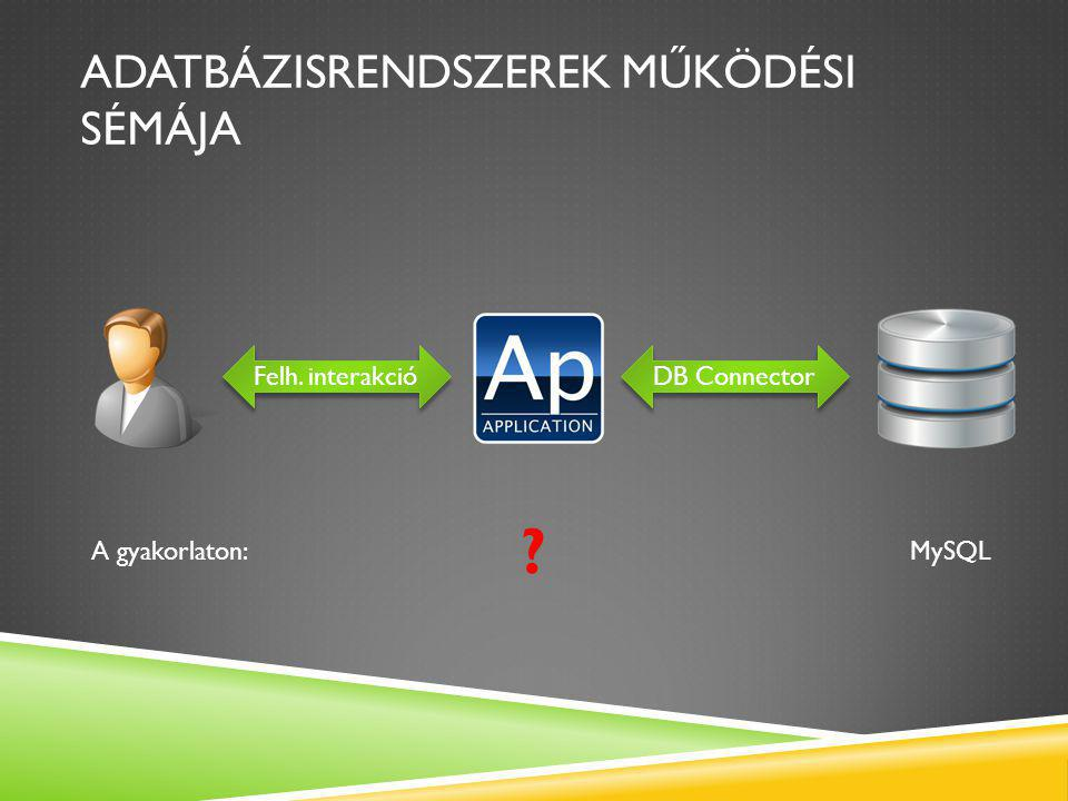 ADATBÁZISRENDSZEREK MŰKÖDÉSI SÉMÁJA Felh. interakció DB Connector MySQL A gyakorlaton: