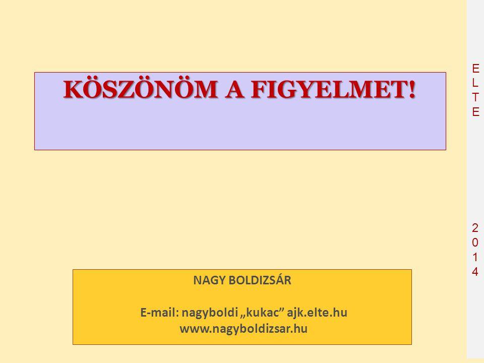 """ELTE2014 ELTE2014 KÖSZÖNÖM A FIGYELMET! NAGY BOLDIZSÁR E-mail: nagyboldi """"kukac"""" ajk.elte.hu www.nagyboldizsar.hu"""