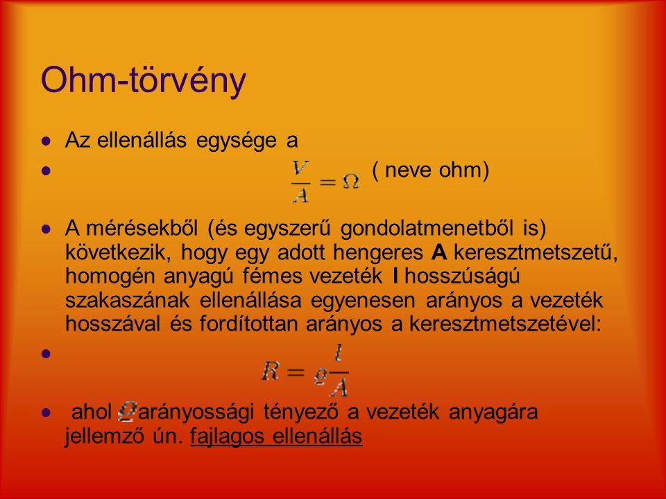 Ohm-törvény Az ellenállás egysége a ( neve ohm) A mérésekből (és egyszerű gondolatmenetből is) következik, hogy egy adott hengeres A keresztmetszetű,