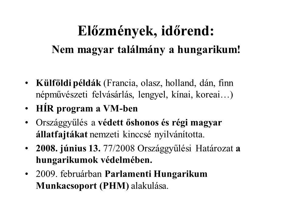 Előzmények, időrend: Nem magyar találmány a hungarikum.