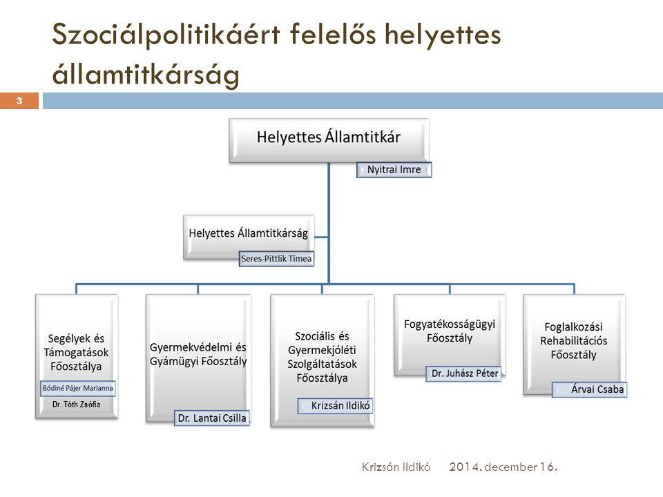 Szociálpolitikáért felelős helyettes államtitkárság 2014. december 16.Krizsán Ildikó 3 Dr. Tóth Zsófia