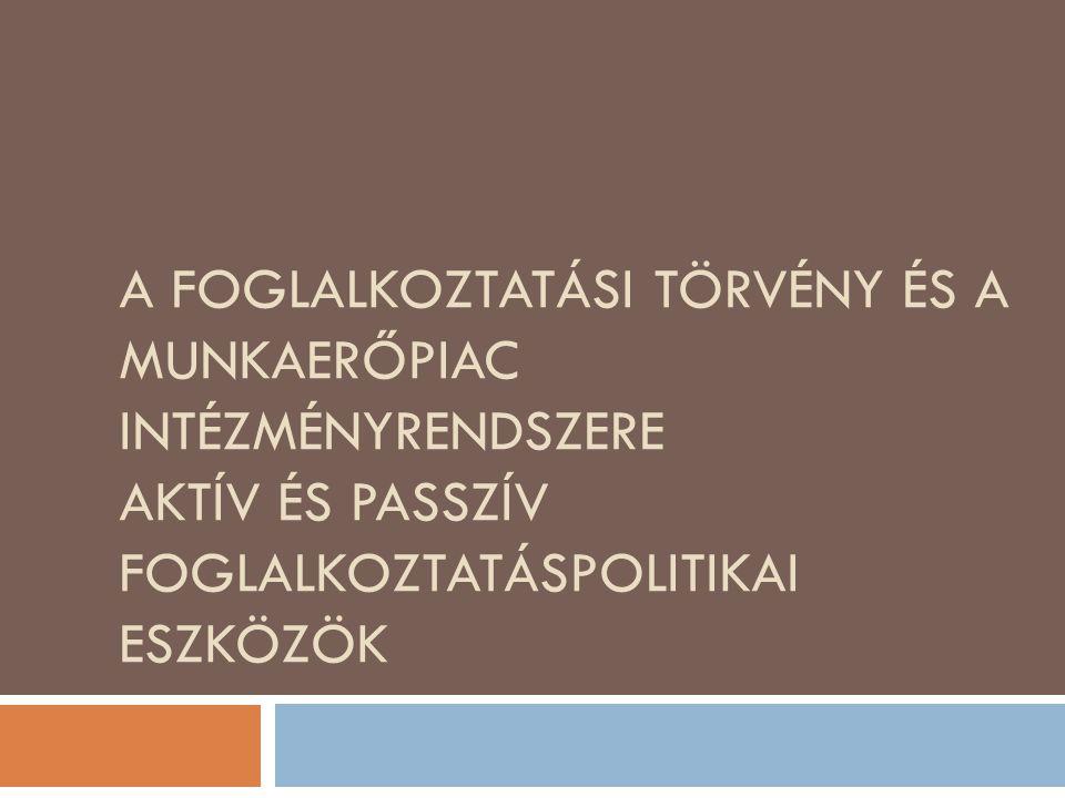 Foglalkoztatáspolitika  Munkaerőpiac  Foglalkoztatáspolitika  Munkaerőpiac szabályozza a munkaerő felhasználását  Foglalkoztatáspolitika a munkaerőpiac külső szabályozórendszere, amelyben szerepet kap a társadalmi funkció  Foglalkoztatáspolitika célrendszere Társadalmi – gazdasági hatás Társadalmi – gazdasági hatás Teljes foglalkoztatás Teljes foglalkoztatás Piacgazdasági szempont Piacgazdasági szempont 2