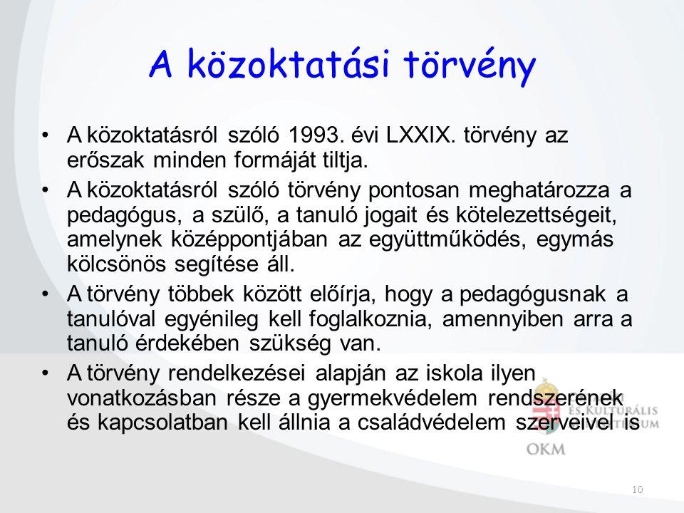 10 A közoktatási törvény A közoktatásról szóló 1993.