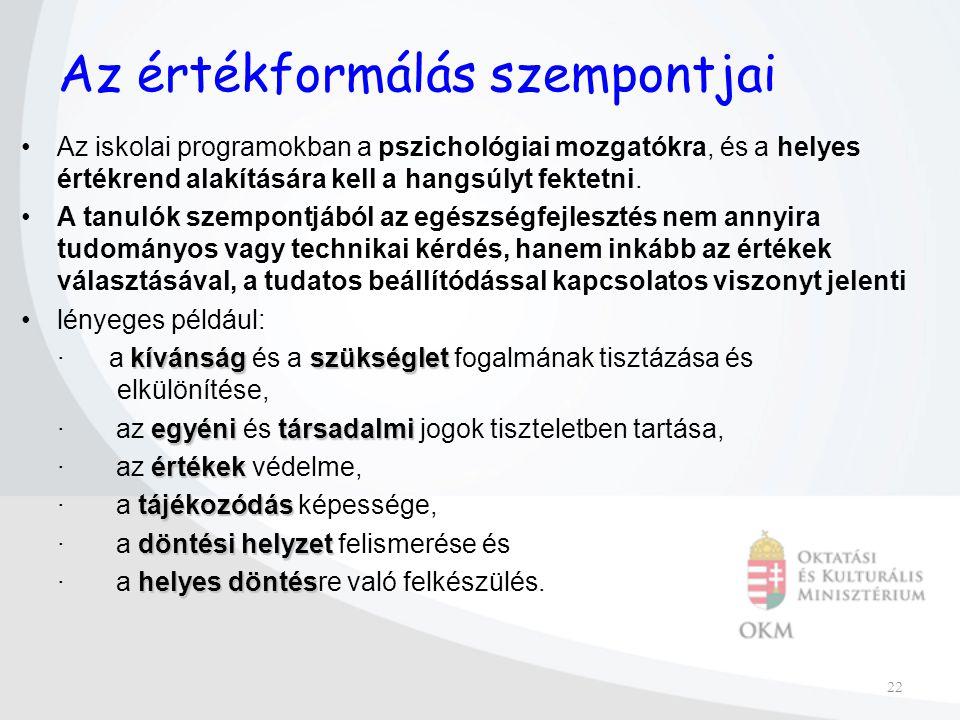 22 Az értékformálás szempontjai Az iskolai programokban a pszichológiai mozgatókra, és a helyes értékrend alakítására kell a hangsúlyt fektetni.