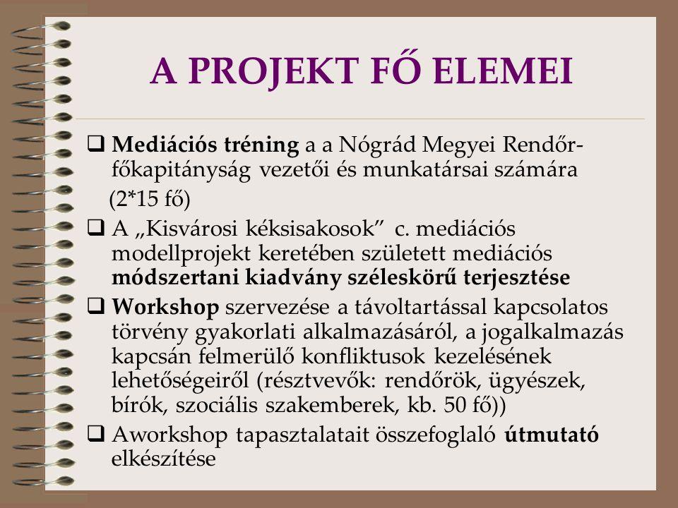 """A PROJEKT FŐ ELEMEI  Mediációs tréning a a Nógrád Megyei Rendőr- főkapitányság vezetői és munkatársai számára (2*15 fő)  A """"Kisvárosi kéksisakosok c."""
