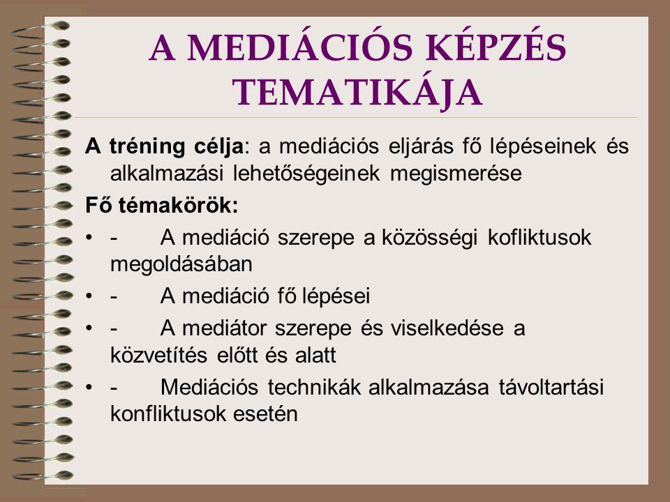 A MEDIÁCIÓS KÉPZÉS TEMATIKÁJA A tréning célja: a mediációs eljárás fő lépéseinek és alkalmazási lehetőségeinek megismerése Fő témakörök: - A mediáció szerepe a közösségi kofliktusok megoldásában - A mediáció fő lépései - A mediátor szerepe és viselkedése a közvetítés előtt és alatt - Mediációs technikák alkalmazása távoltartási konfliktusok esetén