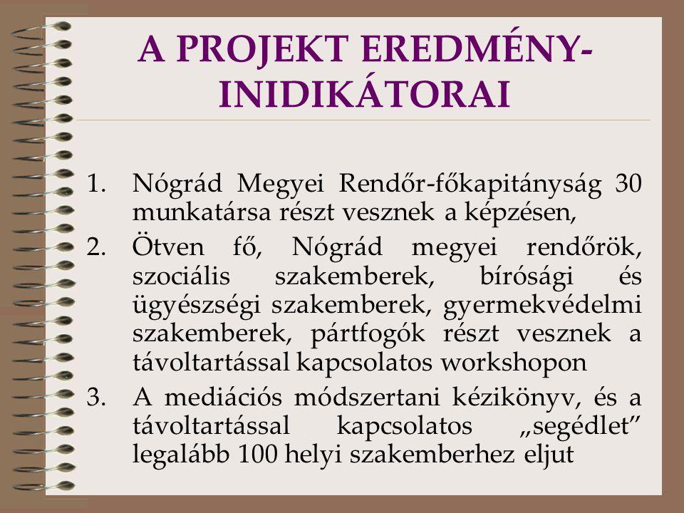 """A PROJEKT EREDMÉNY- INIDIKÁTORAI 1.Nógrád Megyei Rendőr-főkapitányság 30 munkatársa részt vesznek a képzésen, 2.Ötven fő, Nógrád megyei rendőrök, szociális szakemberek, bírósági és ügyészségi szakemberek, gyermekvédelmi szakemberek, pártfogók részt vesznek a távoltartással kapcsolatos workshopon 3.A mediációs módszertani kézikönyv, és a távoltartással kapcsolatos """"segédlet legalább 100 helyi szakemberhez eljut"""