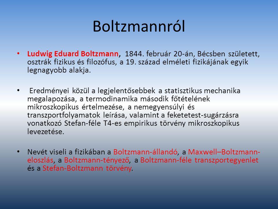 Boltzmannról Ludwig Eduard Boltzmann, 1844. február 20-án, Bécsben született, osztrák fizikus és filozófus, a 19. század elméleti fizikájának egyik le